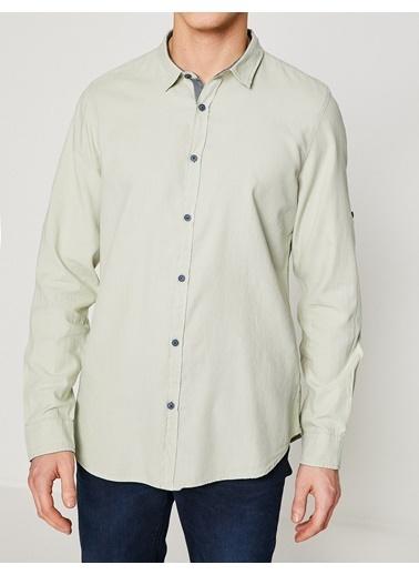 Koton Slim Fit Uzun Kollu Gömlek Yeşil
